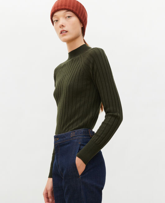 Ribbed merino wool turtleneck jumper MILITARY GREEN