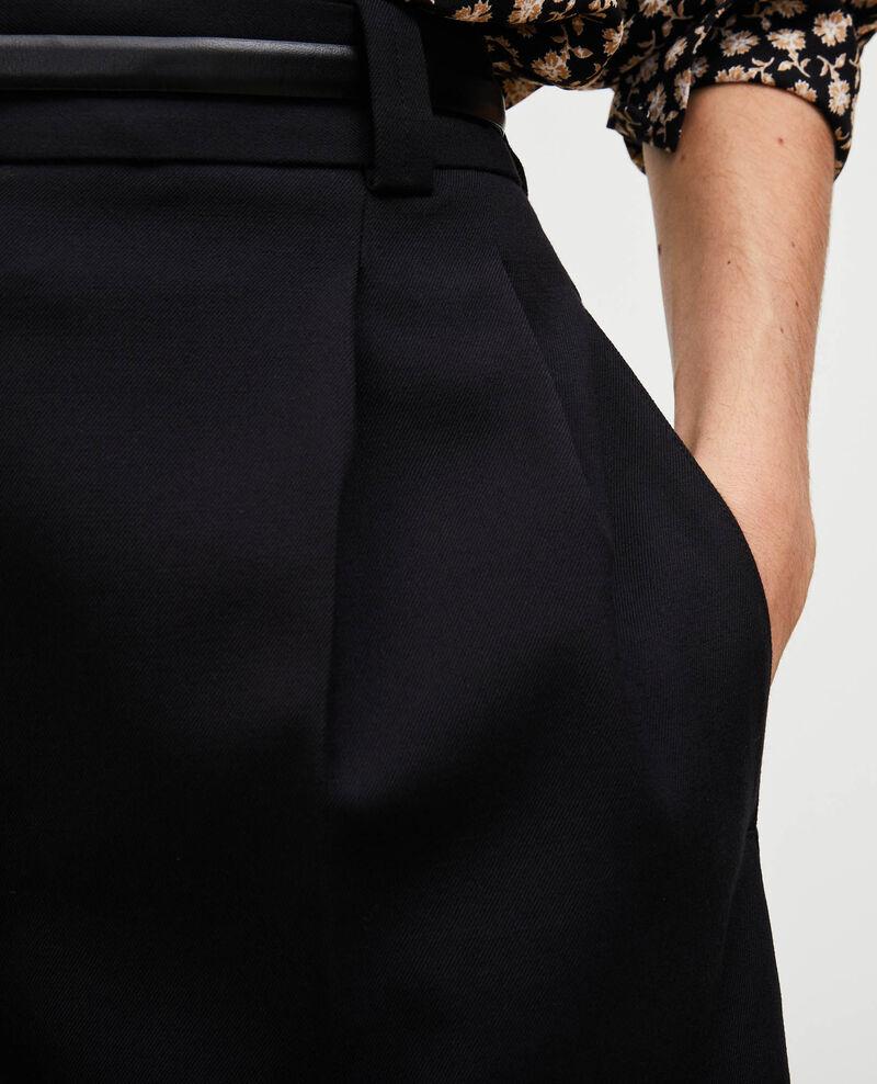 High-waisted wide wool bermuda shorts Black beauty Mercal