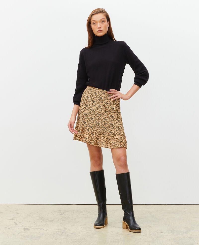 Printed silk mini skirt Print artdeco lemoncurry Mada