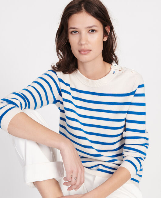 Zeitloser Wollpullover STRIPES PRINCESS BLUE GARDENIA