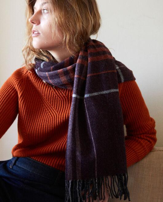 Tartan-print scarf BURGUNDY