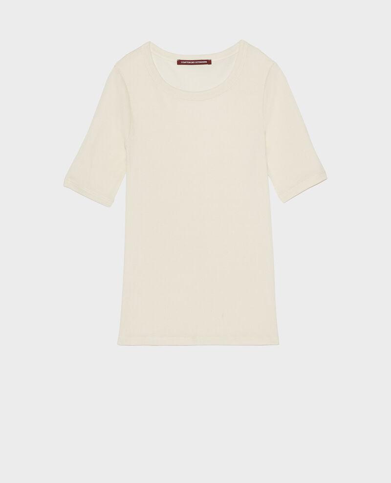 Mercerised cotton ribbed t-shirt Buttercream Lasso