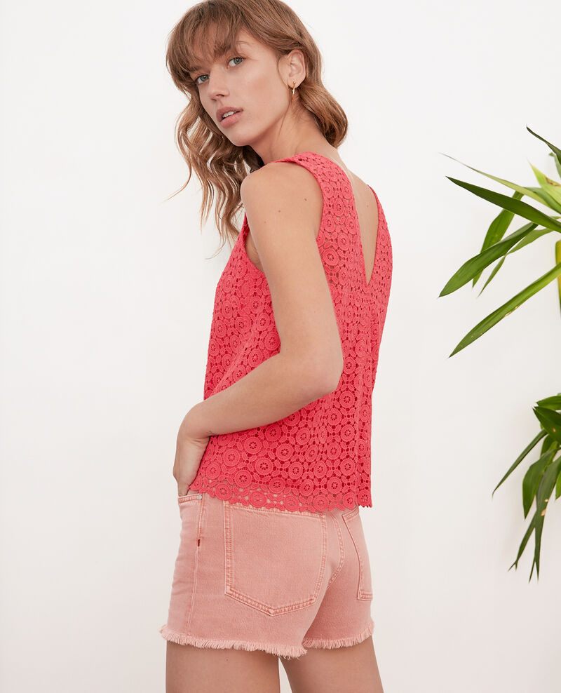 Broderie anglaise top Ultra pink Foulouse