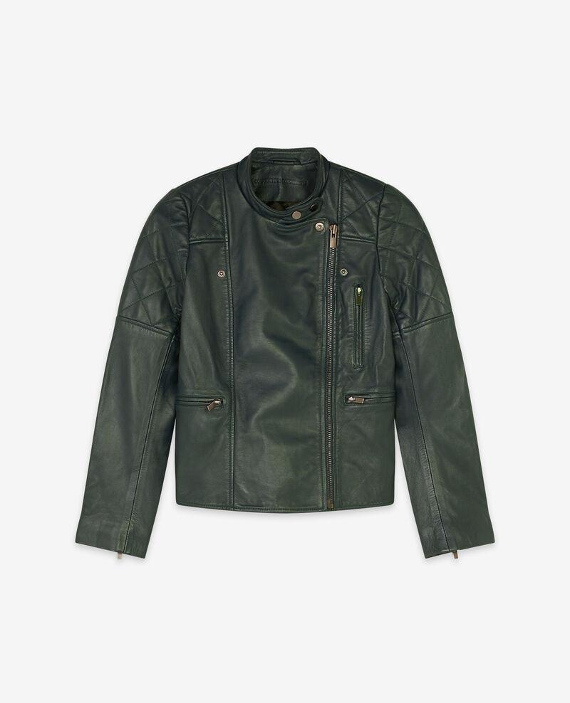Leather jacket Deep green 9dablique