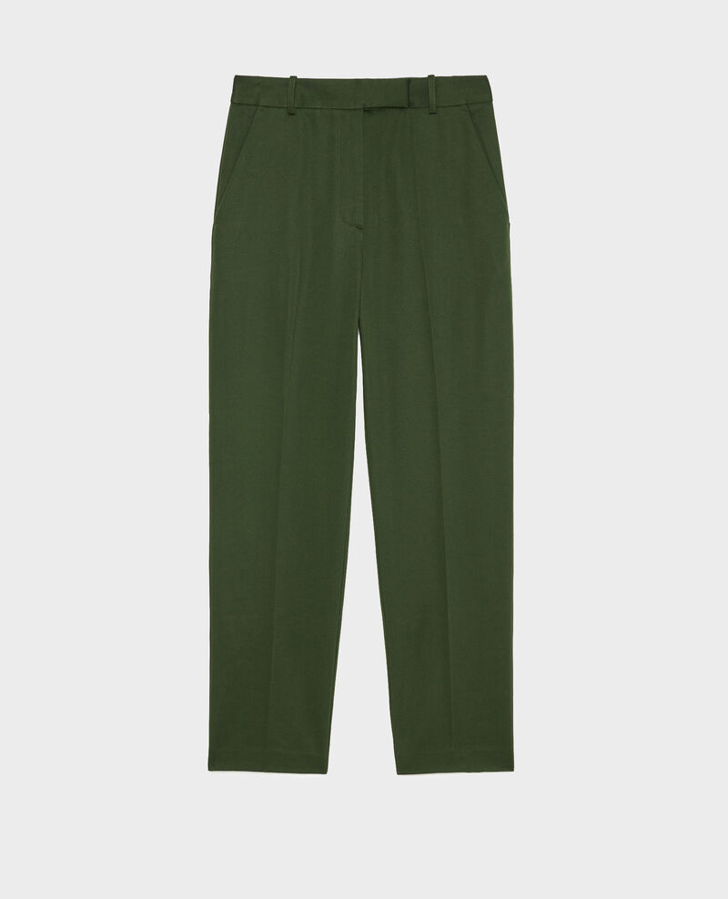 Tapered cotton 7/8 chinos MARGUERITE Military green Mezel