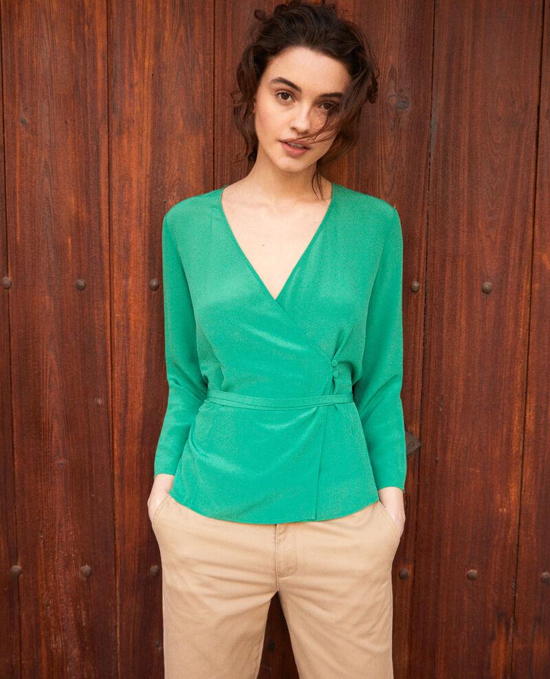 Silk wrap blouse Green Itocoeur