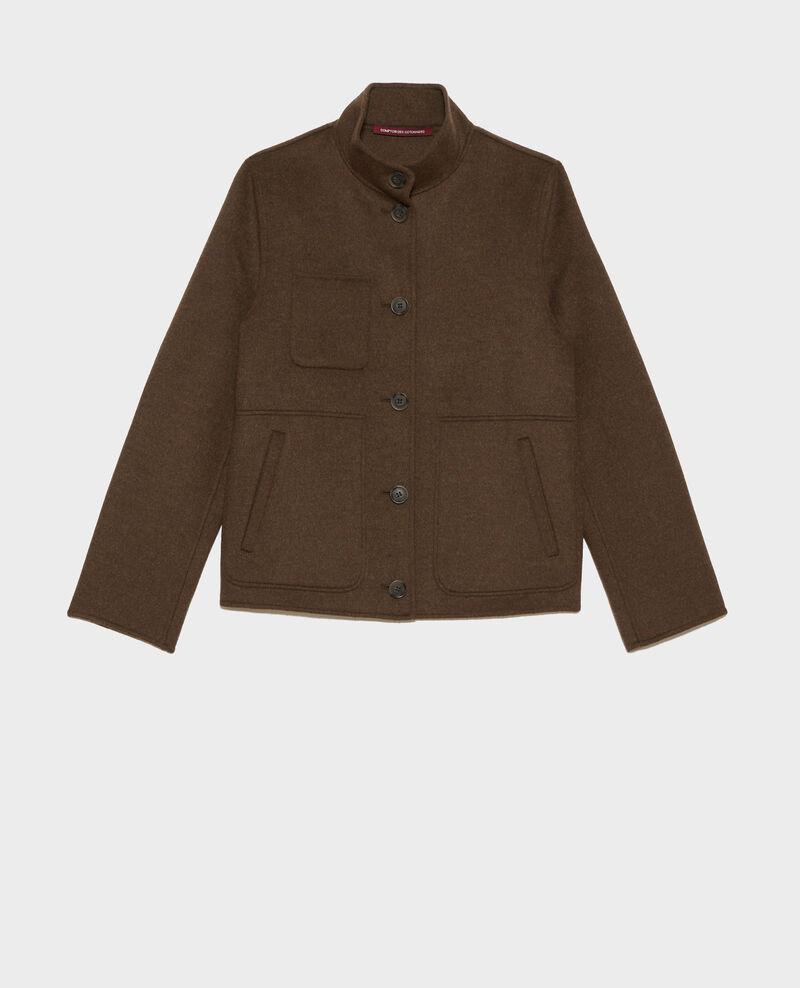 Cropped wool and cashmere jacket Kaki Pauguio