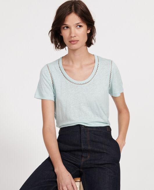 Linen jersey T-shirt BLUE HAZE