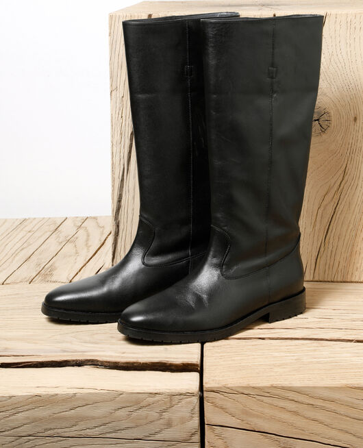 Smooth leather boots Black