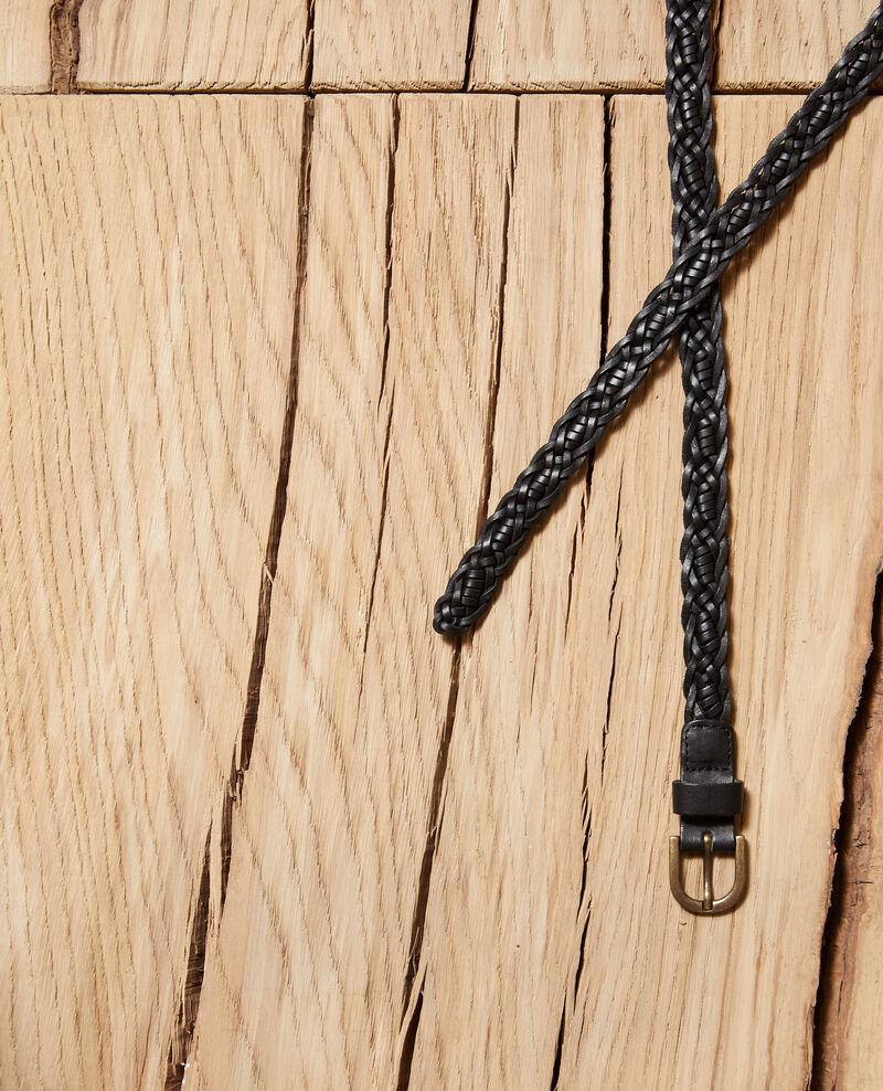 Braided leather belt Black Glane