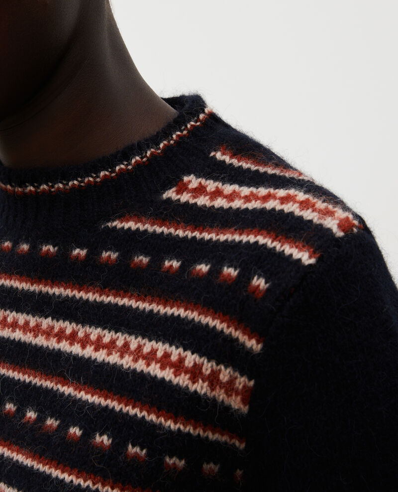 Round neck alpaca wool jacquard jumper Black brandy lighttaupe jacquard Marolette