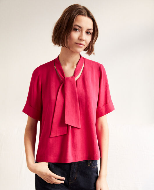 Blouse with removable tie FUSHIA
