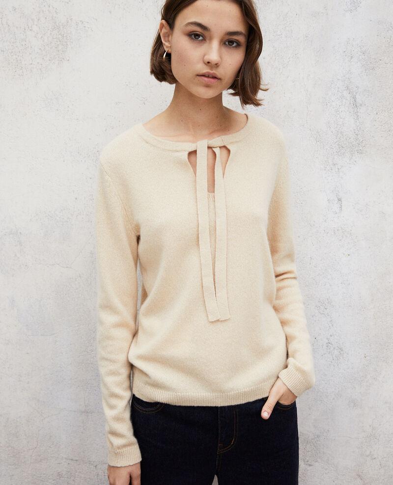 Round neck cashmere jumper Light beige Ixela
