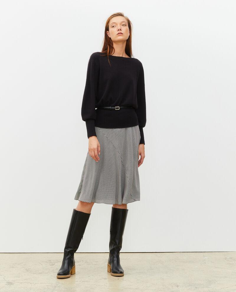 Floaty silk bias-cut skirt Print damiers coffee bean Mayata