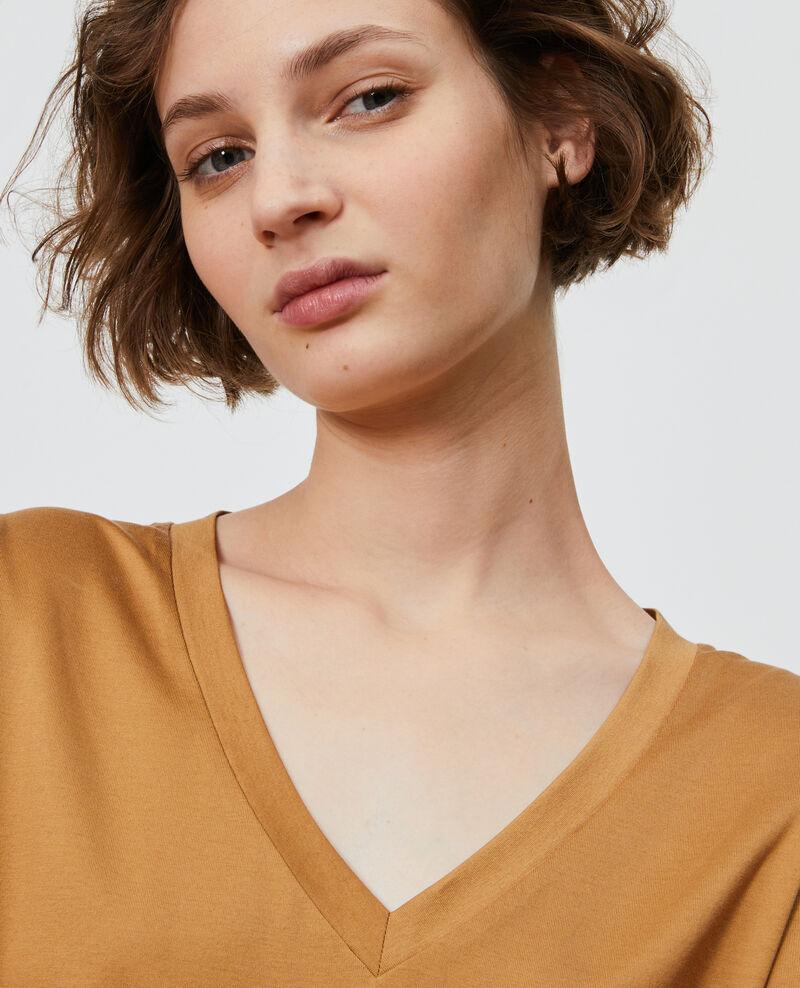 V-neck cotton t-shirt Latte Laberne
