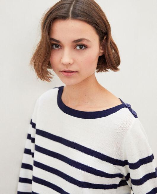 Striped wool jumper Blanc