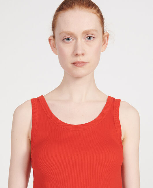 Mercerised cotton ribbed jersey vest FIERY RED