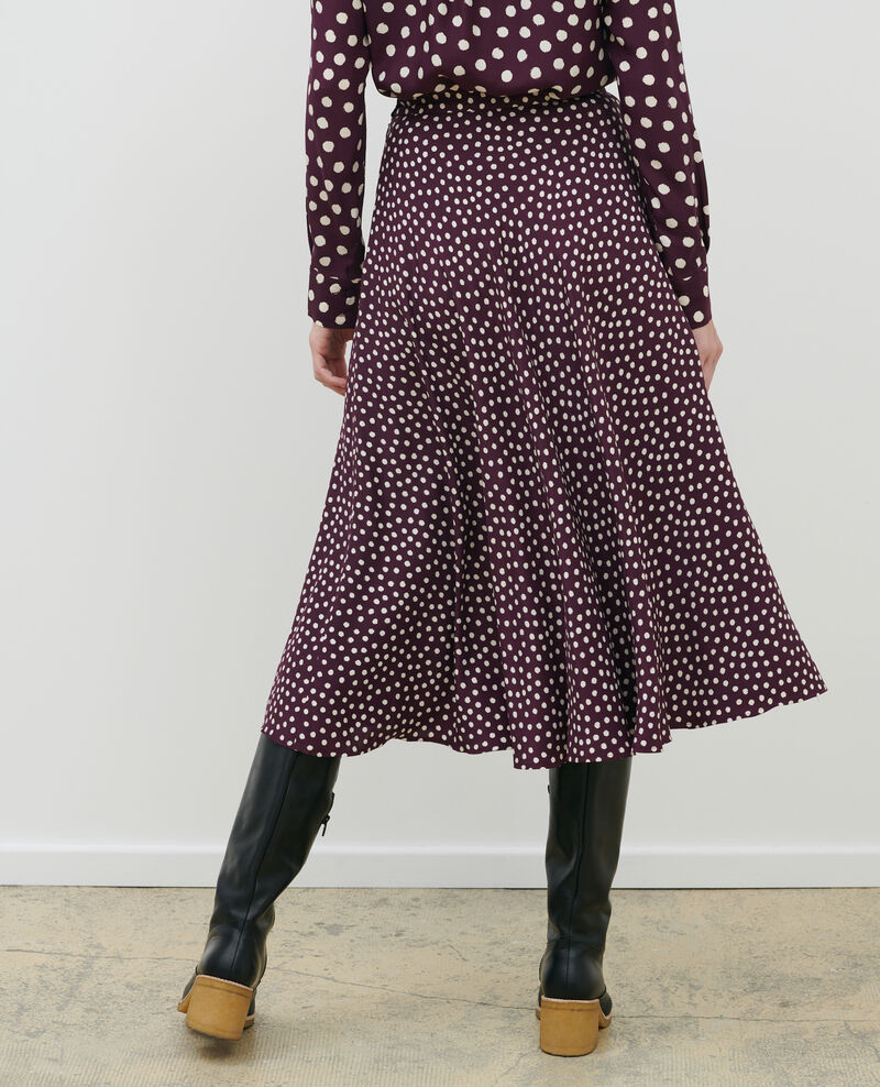 Silk skater skirt Minidot purple Nauraule