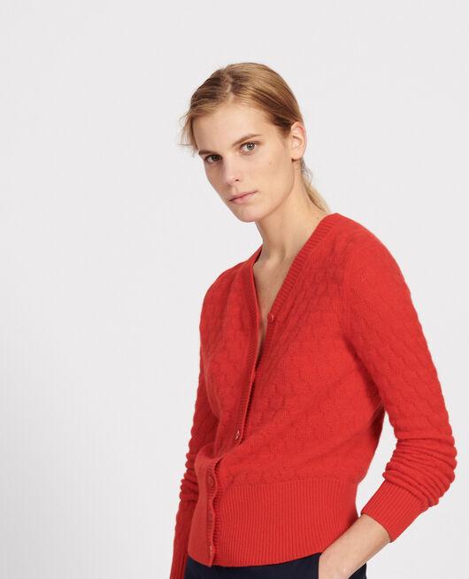 V-neck cardigan, 100% cashmere  FIERY RED