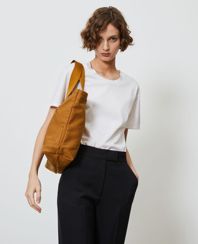 Multi-pocket cotton tote bag Bronze brown Naive