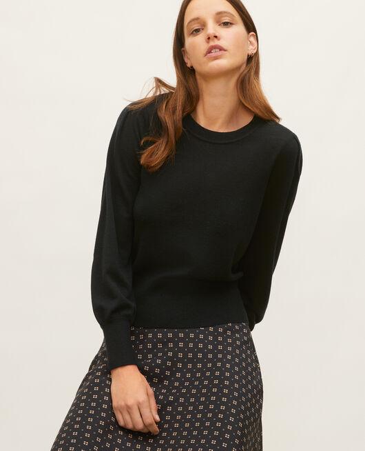 Round neck merino wool jumper BLACK BEAUTY
