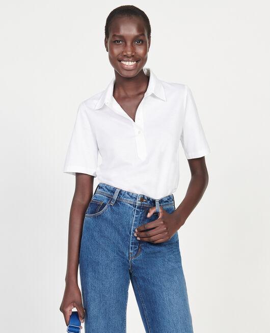 Egyptian cotton polo shirt OPTICAL WHITE