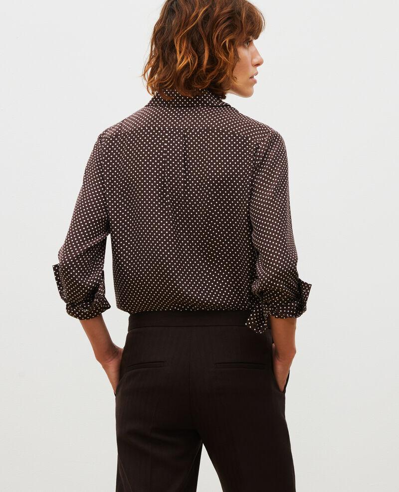 Long-sleeve silk men's shirt Little pois coffee bean Morigesa
