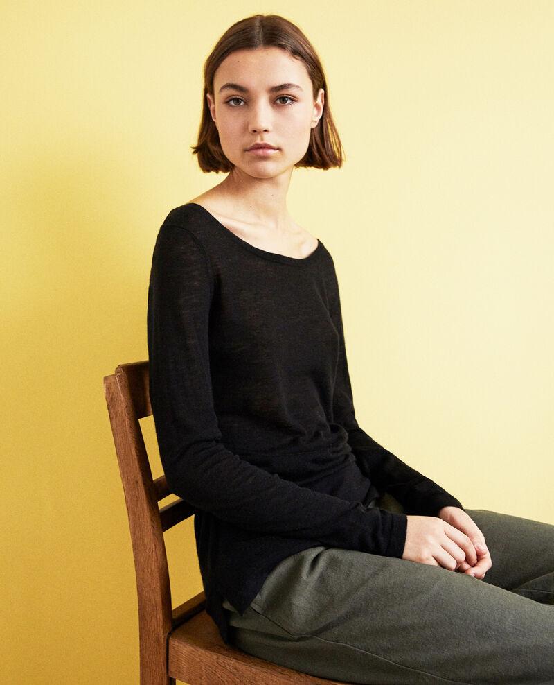 Round neck wool jumper Noir Idouard