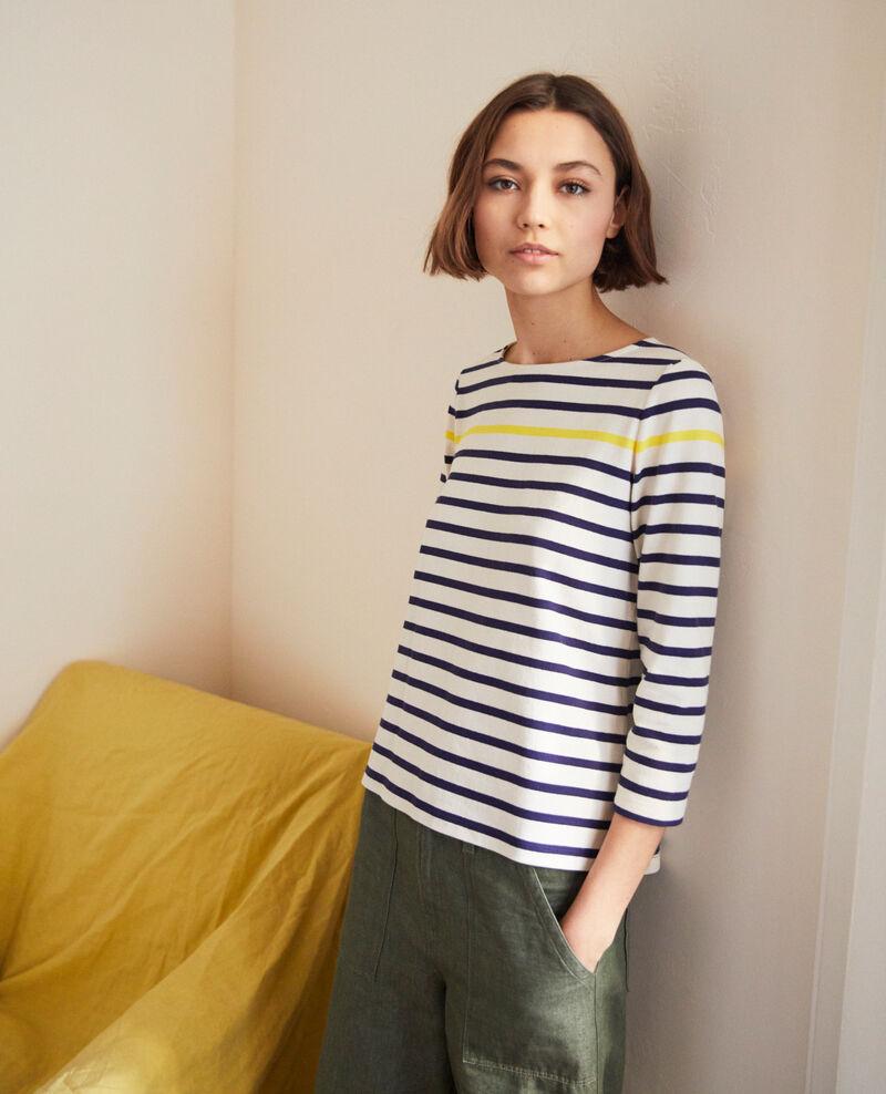 Striped T-shirt Ow/navy/yello Isteria
