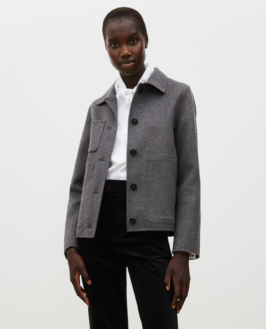 Double-sided wool jacket MEDIUM GREY MELANGE