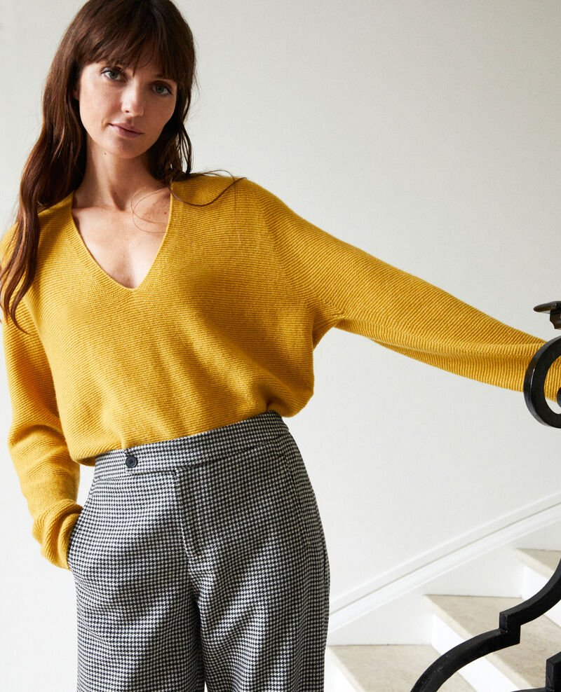 V neck cashmere jumper 100% cashmere Sauterne Jonka