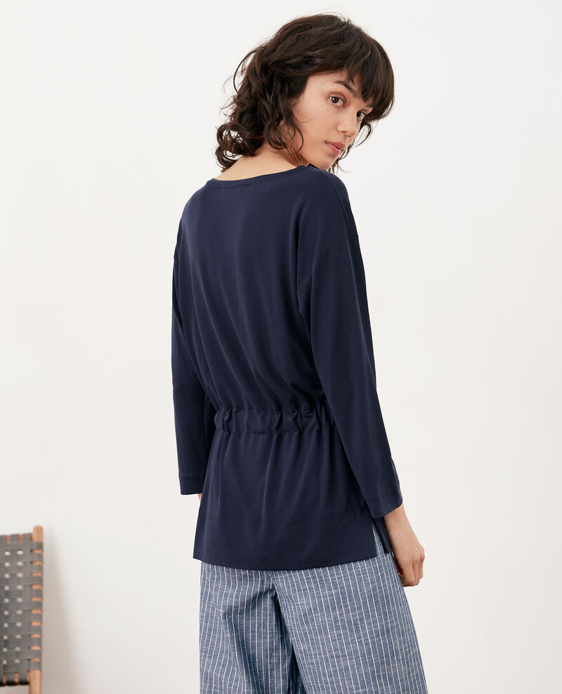 Loose T-shirt with belt Navy Farex