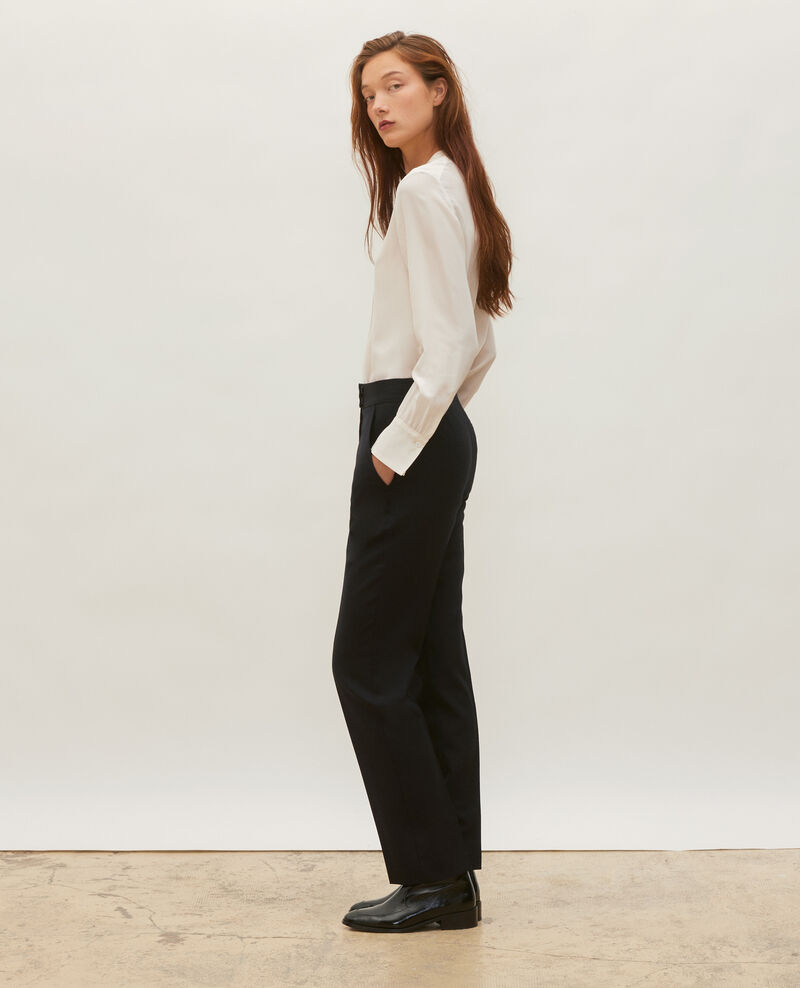 Straight wool boyfriend trousers MARCELLE Black beauty Misabelle