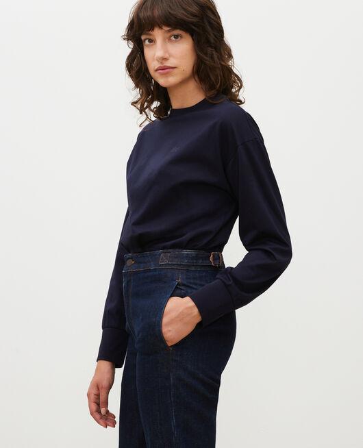 Round neck long-sleeve cotton t-shirt NIGHT SKY