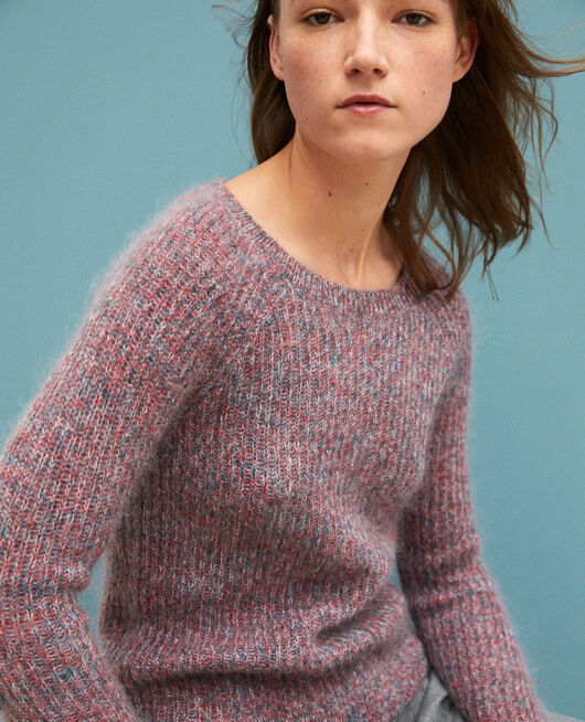 Flecked mohair jumper POMPEIAN RED/ULTRA GREEN/OFF WHITE