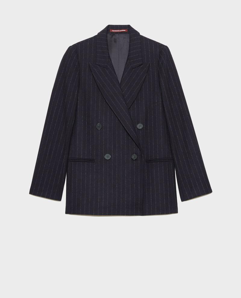 Double-breasted wool blazer Stripes night sky Muciano