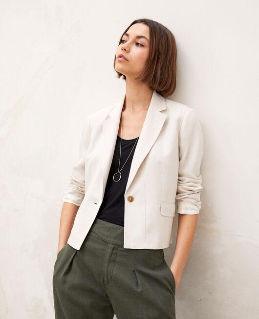 release date 01d9d 83388 Short blazer DUST BEIGE OFF WHITE