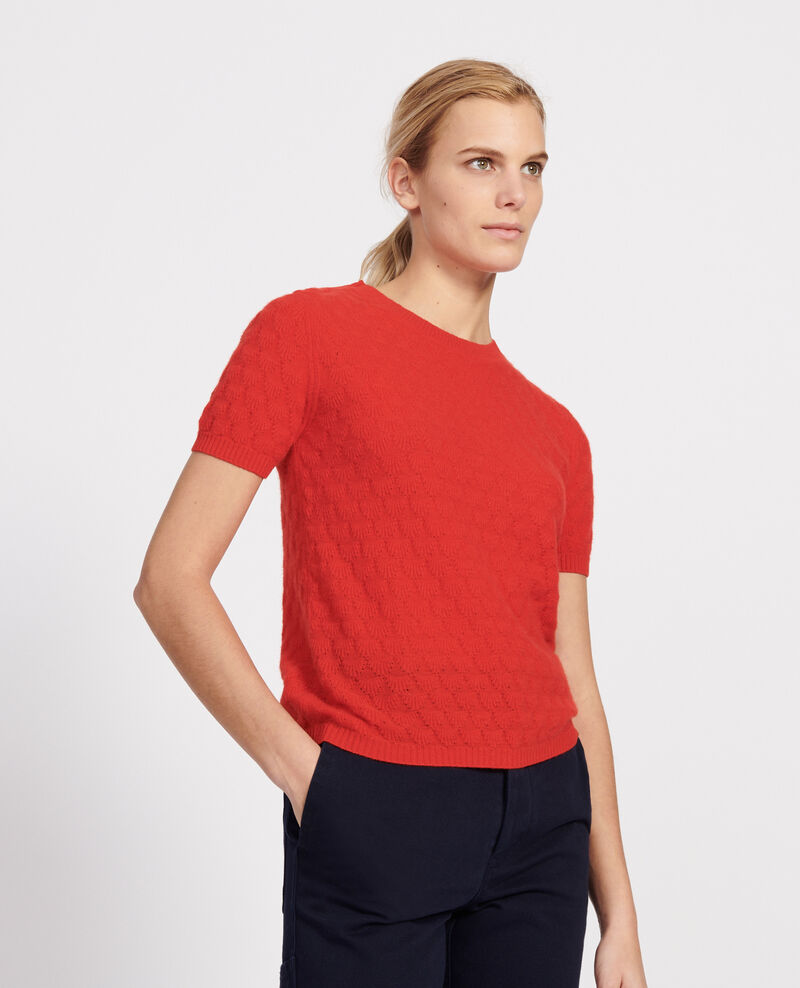 Round neck jumper, 100% Cashmere Fiery red Lotta