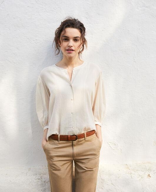 Round neck blouse LINEN/WHITE
