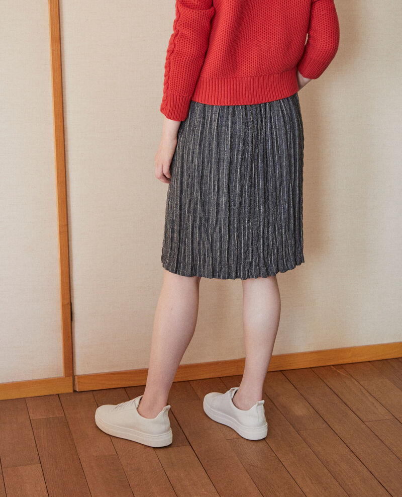 Crinkle effect pleated skirt Grey Garachute