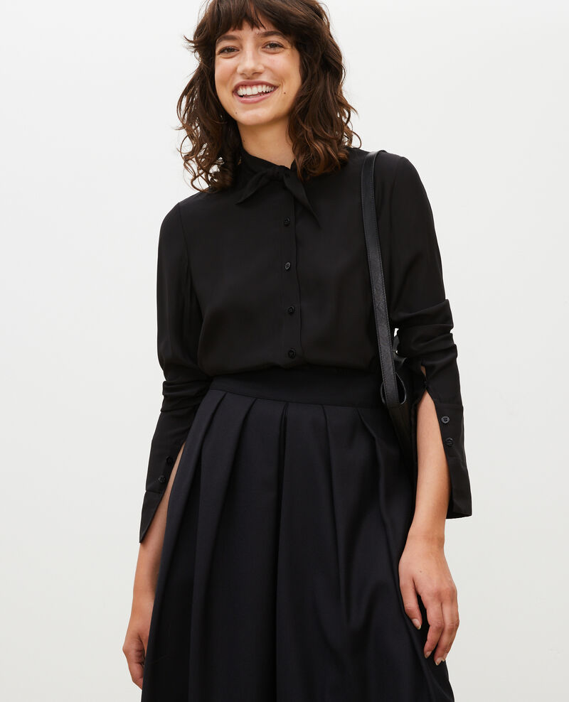 Long-sleeve tie neck silk blouse Black beauty Margueray