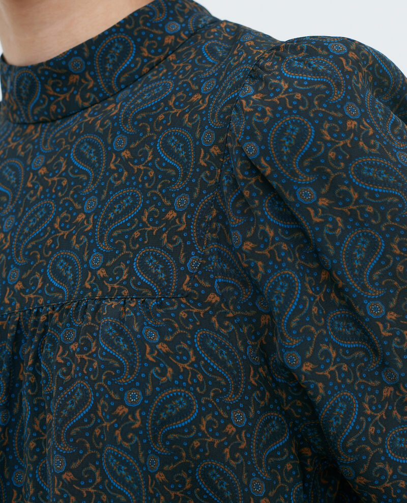 Silk ruffle top Paisley blue Palante