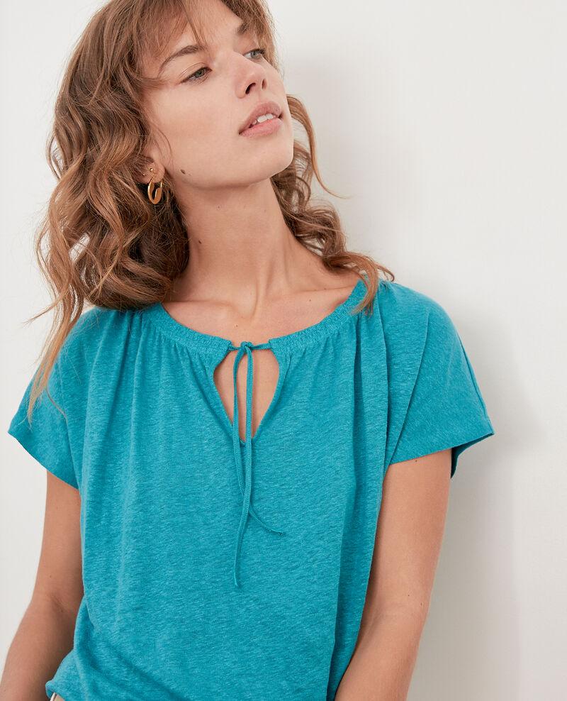 Linen T-shirt Pacific green Flabi