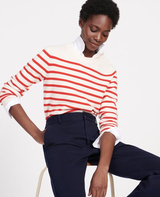 Classic wool jumper STRIPES FIERY RED GARDENIA