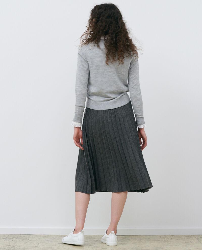 Cropped merino wool cardigan Melange grey Palabre