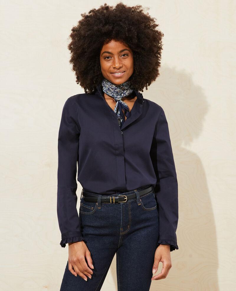 Ruffled high collar cotton shirt Night sky Marcenat