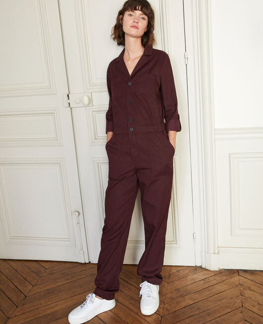 Deep neck jumpsuit Brown