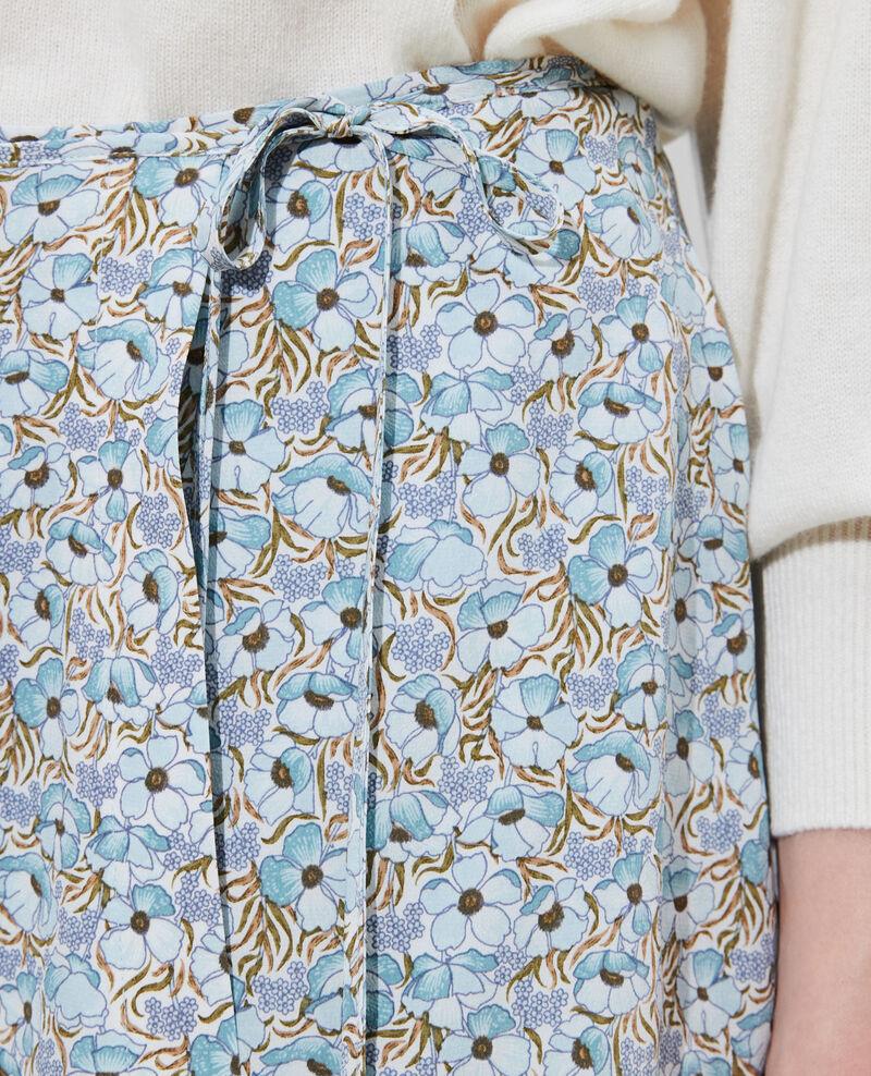 Silk wrap mini skirt Art deco blue Palongue