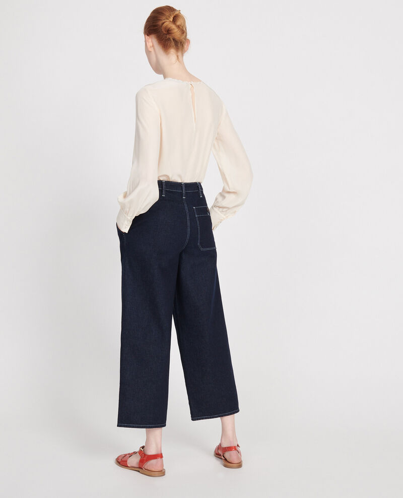 Dark wide leg cropped jeans Denim rinse Leandra