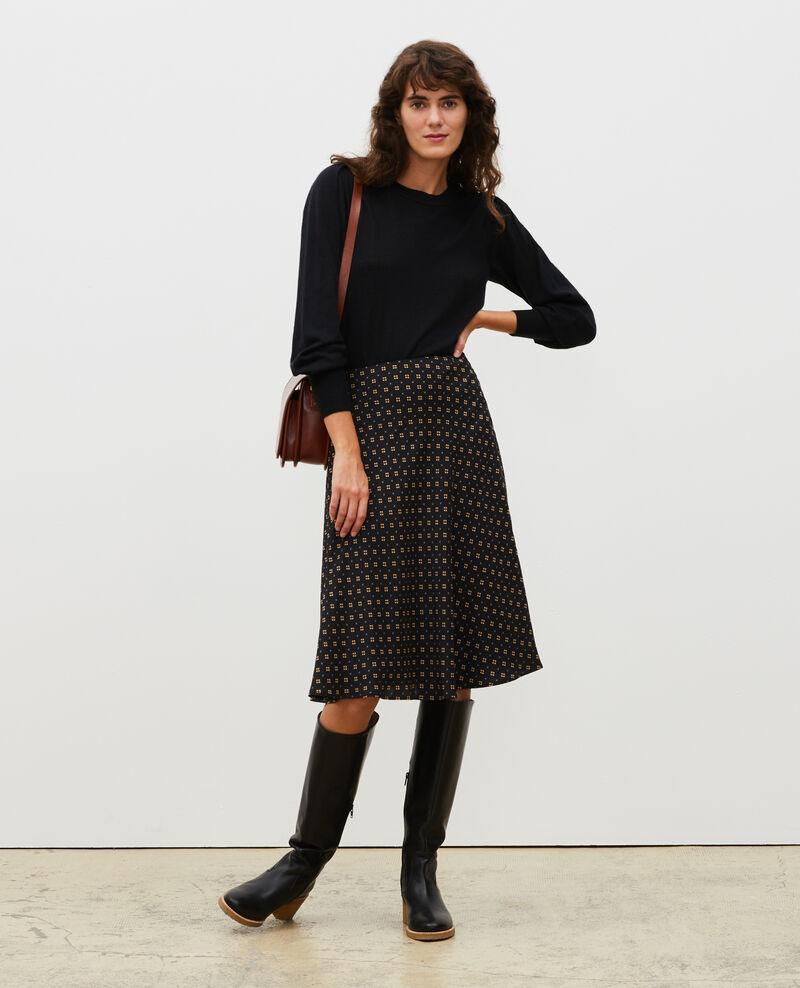 Silk skater skirt Print mosaique black Margireste